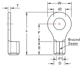 Dimentional Drawing for : Uninsulated ring terminal AWG22-16 3.2mm. #4